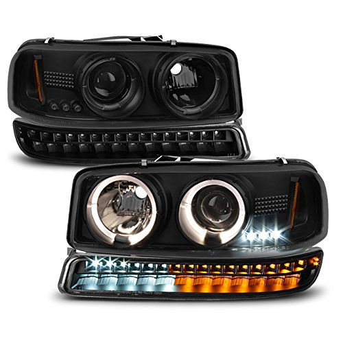 For 1999-2006 GMC Sierra | Yukon Black Smoked Halo Projector Head Lights Pair + LED Bumper Lights Set