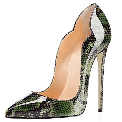 Leopardo Heels Alti Dello Punta Green Stiletto Elegante 12cm Eldof Court Scarpe Tagliata High Shoes Women Donne A Classic Out Tacchi Toe Pointed Cut Stiletto Leopard Eldof Pompe Elegante Verde Corte Classiche 12cm Scarpe Di Pumps E0w4Fq