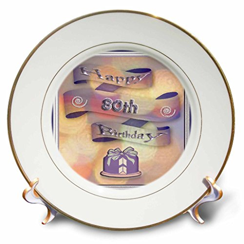 3dRose LLC cp_24375_1 Ribbon and Cake Happy 80th Birthday Porcelain Plate, 8-Inch
