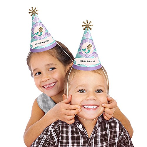 Let's Be Mermaids - Cone Happy Birthday Party Hats - 8 Count