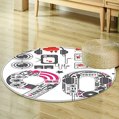 D100 Cables (Round Rug Kid CarpetCollection 90s Groove Icon Collection Stylish Cable Groovy Microphone Keyboard Instrument Image RedHome Decor Foor Carpe)