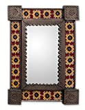 NOVICA Floral Tin and Ceramic Wall Mounted Mirror, Multicolor 'Country Charm'