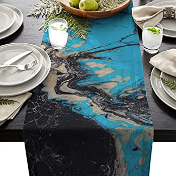 FAMILYDECOR Linen Burlap Table Runner Dresser Scarves, Abstract Black and Blue Marble Textured Kitchen Table Runners for Dinner Holiday Parties, Wedding, Events, Decor - 13 x 70 Inch