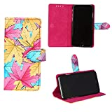 swankmobilecovers Wallet Flip Cover for Samsung Galaxy A8(LEAF-PINK)