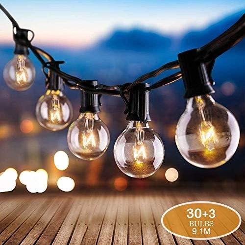 Lichterkette Außen, AUOPLUS 9.1 Meter G40 30pcs Glühbirnen mit 3 Ersatzbirne, Wasserdicht, Stimmungslicht Festival Deko Beleuchtung für Innen- und Außen Garten Hochzeit Weihnachten