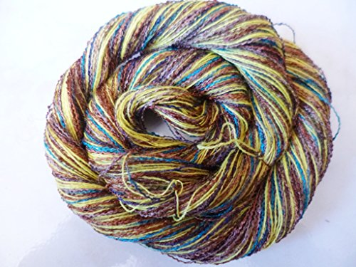 Handspun Sock Yarn - Canary Yellow, multicolor brown, blue and teal acrylic rayon Designer Fingering Sock Yarn