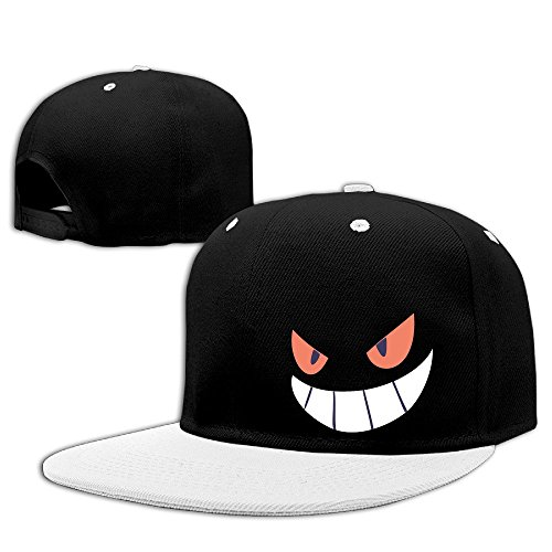 Gengar Halloween Face Adjustable Caps Flat Brim Hip-Hop Caps