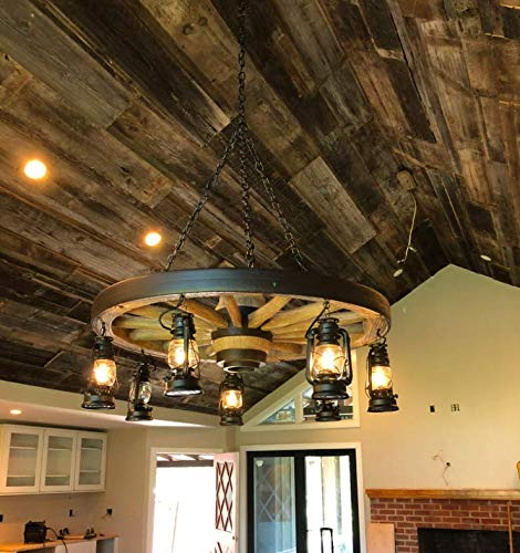 Wagon Wheel Chandelier - Rustic Antique Vintage Ceiling Pendant Light - Lightweight and Durable - Authentic Looks - Premium Quality - 7 Lanterns - Dry Locations - Internal Wiring - - Wagon Lighting Wheel