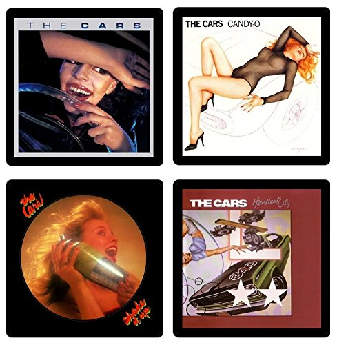 The Cars (Band) Coaster Gift Collection - (4) Different Album Covers Reproduced Onto Absorbent, Soft, Drink Coasters - Elliot Easton Guitar
