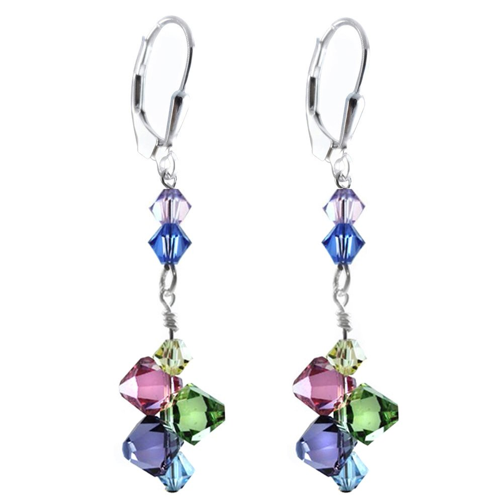 Earrings Made with Swarovski Elements. Top Drilled Multi-color, Sterling Silver Lever-back