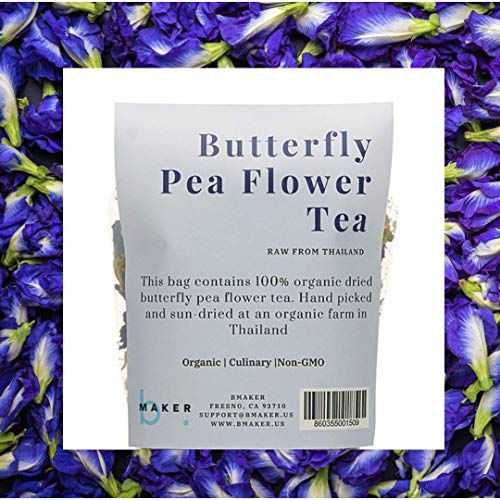Organic Dried Butterfly Pea Flower Tea (Clitoria Ternatea) | Preservative-free Edible Thai Herb | Whole Flowers for Color Changing Blue Tea, Baking, Cooking and Natural Sexual Enhancement, 50 Gram