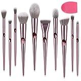 Xinhot Makeup Brushes 10 Piezas, Conjunto de Brochas Maquillaje, Pincel de Base Sintético Premium, Maquillaje en Polvo para la Cara, Corrector de Rubor, Kit de Pinceles para Sombras de Ojos(Rosa)