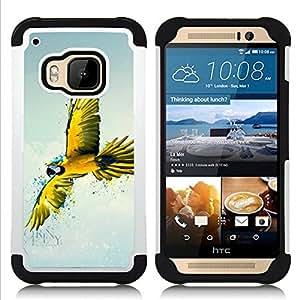 For HTC ONE M9 - Parrot Yellow Blue Colorful Flying Bird Nature /[Hybrid 3 en 1 Impacto resistente a prueba de golpes de protecci????n] de silicona y pl????stico Def/ - Super Marley Shop -