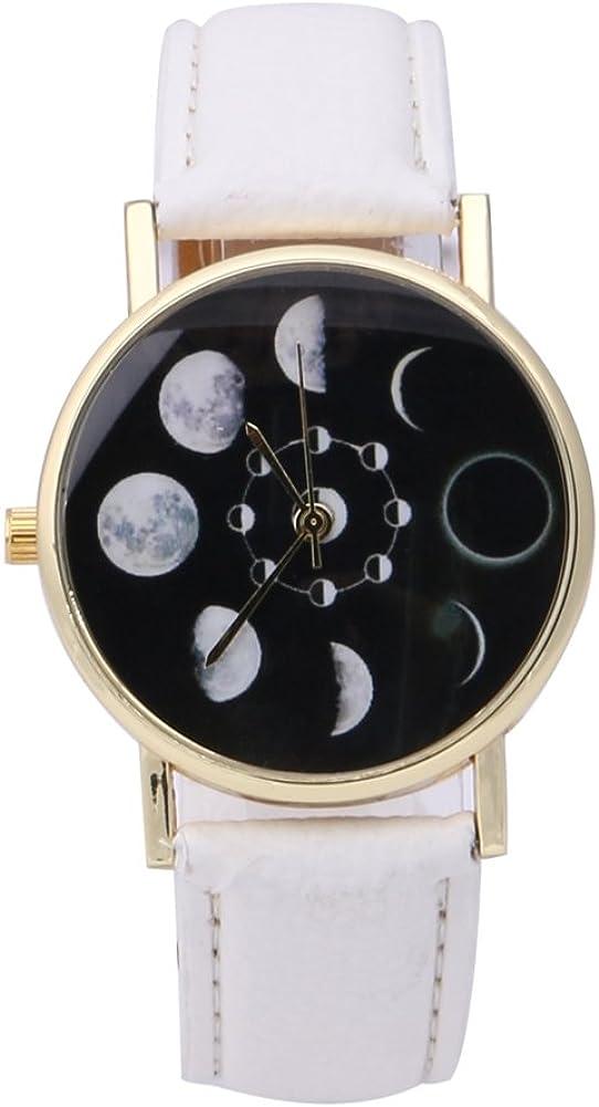 Bracelet en Cuir PU de Montre de Lune de Quartz de Phase Lunaire d'éclipse Solaire par SturdCelle Blanc