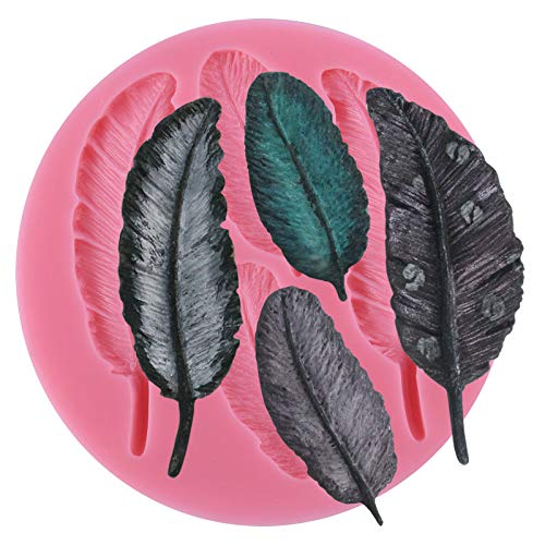 Funshowcase 4 Cavities Feather Pattern Silicone Cake Decorating Mold for Sugarcraft, Chocolate, Fondant, Resin, Polymer Clay, Soap Making