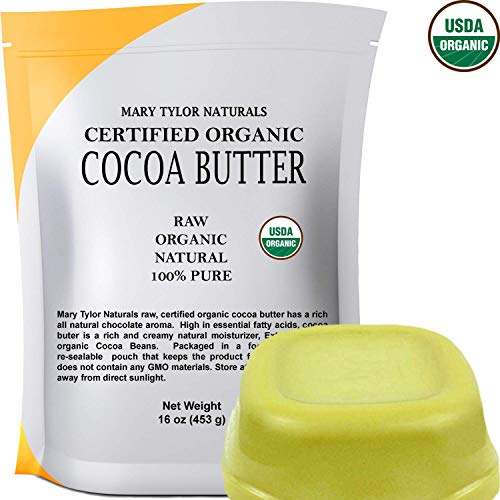 USDA Certified Organic Cocoa Butter, Large 1 lb Bar by Mary Tylor Naturals Raw Unrefined, Non-Deodorized, Rich In Antioxidants Great For DIY Recipes, Lip Balms, Lotions, Creams, Stretch Marks (Natural Cocoa Butter)