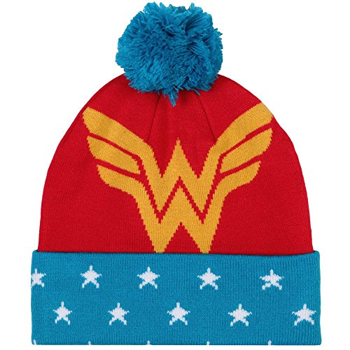 DC Comics Wonder Woman Pom Beanie, Red/Blue, One -