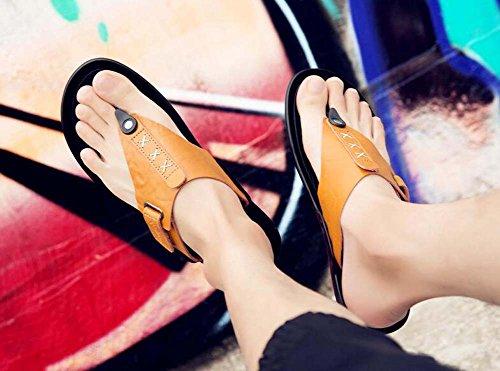 Chanclas la Flip de Sandalias Hombres Marrón pie Sandalias Zapato de Flop de del Tamaño Amarillo Amarillo Planas Nuevo Playa Surf los 45 de de Verano Dedo Negro 38 rarCPqw