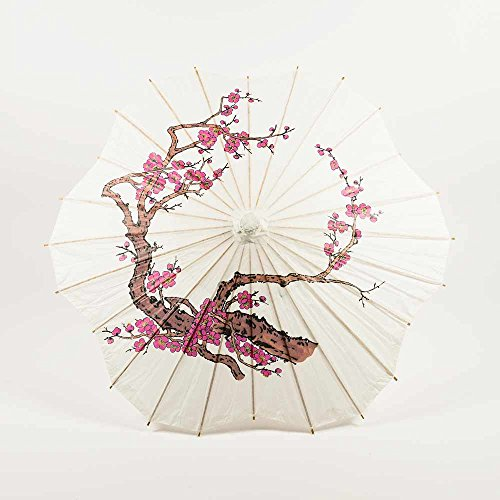 Quasimoon PaperLanternStore.com 32 Inch Cherry Blossom/Sakura Paper Parasol Umbrella, Scallop Shaped with Elegant Handle -