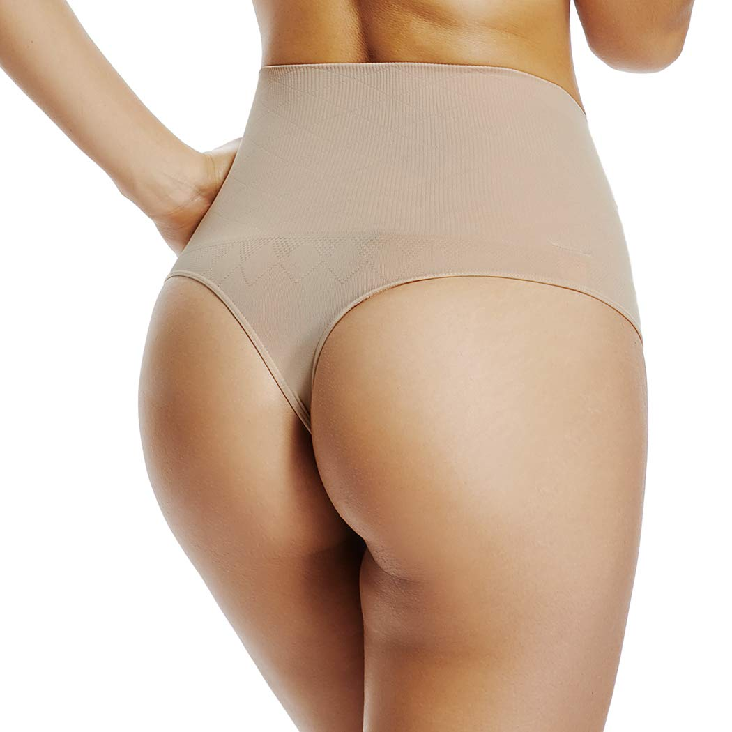 299b10c24100 High Waist Thong Panties for Women Tummy Control Underwear Slim Body Shaper  Thong Shapewear at Amazon Women's Clothing store: