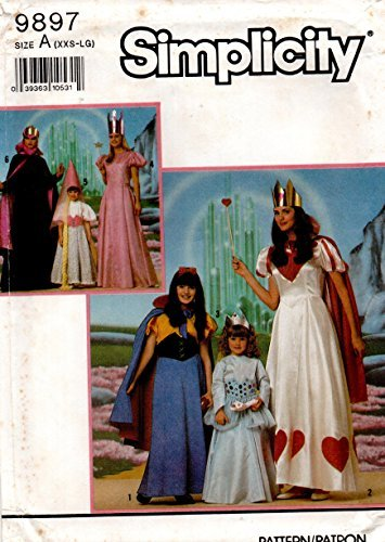 Simplicity 9897 Sewing Pattern, for Adults Xxs Xs S M L Costumes Queen Princess Repunzel Queen of Hearts -