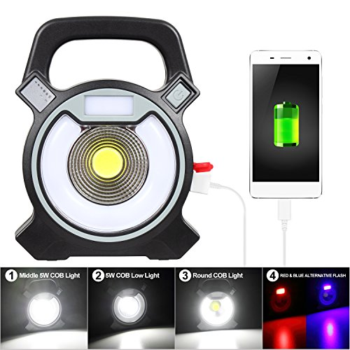 T-Sun COB LED Portable Work Light 5W 1200Lumens with Micro-USB Charging Emergency Work Light Camping Lantern Power Light by T-SUN (Image #3)
