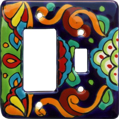 (Fine Crafts Imports Rainbow Talavera Toggle-GFI Switch Plate)
