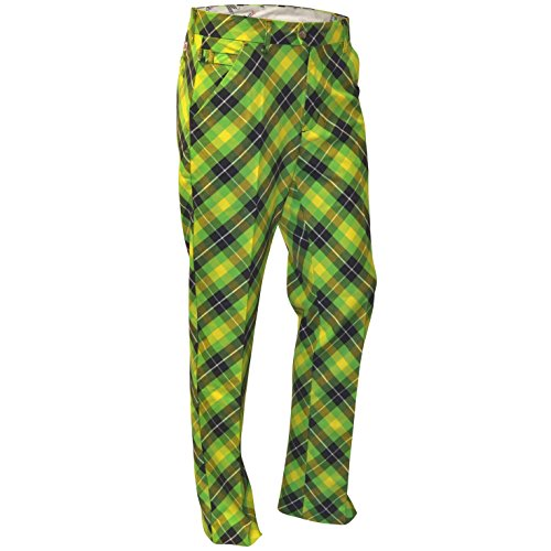Royal & Awesome Men's Golf Pants, Plaid Electric, 36W x 32L ()