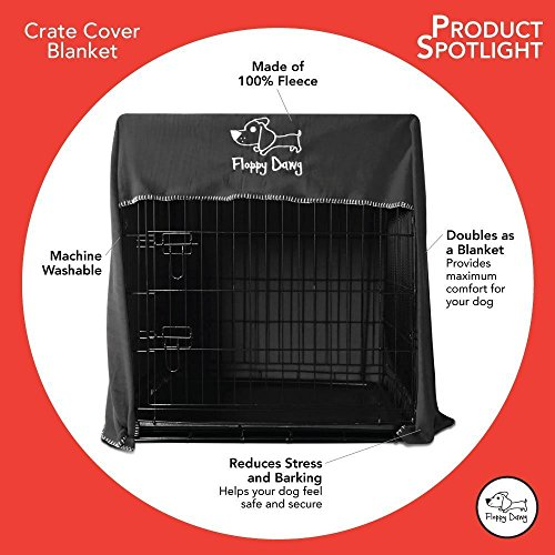 Floppy Dawg Crate Cover. Fits 36 Inch Dog Crates or Smaller. Easy to Put On, Take Off, and Adjust. Doubles as a Comfy Blanket. Slate Gray Lightweight and Breathable Polar Fleece. by Floppy Dawg (Image #2)