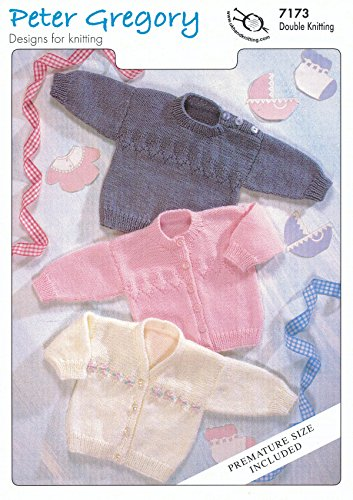 Peter Gregory Baby DK Double Knitting Pattern Long Sleeved Sweater & Button Up Cardigans (7173)
