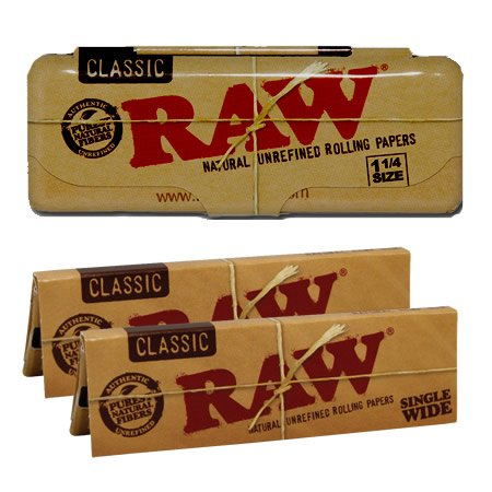 RAW CLASSIC 1 1//4 inch Size standard NATURAL ROLLING PAPER Booklets vegan