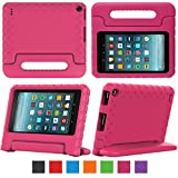 Fire 7 2017 Tablet Case,eTopxizu Shock Proof Case for Fire 7 2017 Tablet ,Kids Shockproof Convertible Handle Light Weight Protective Stand Case for Fire 7-inch (7th Generation, 2017 Release),Rose Pink