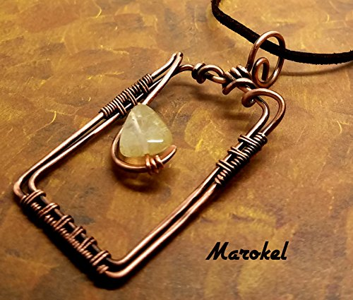 - Citrine Frame Necklace Copper Wire Hammered Wrapped