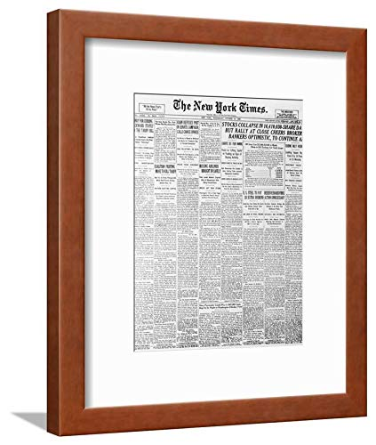 ArtEdge 1929 Cover of New York Times Newspaper Brown Wall Art Framed Print, 12x9, Soft White Mat