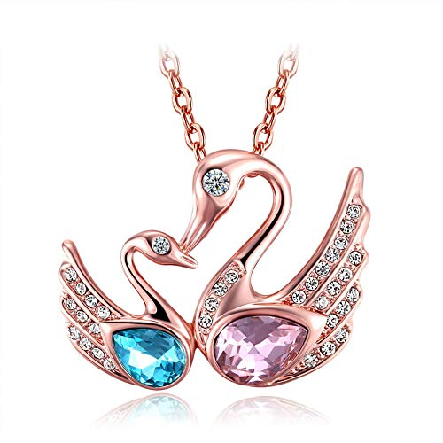 MYYQ. Women Necklace Pendant,Fashion Necklace Rose Gold Blue Crystal Lovers Wishing Gift Swan Pendant ()