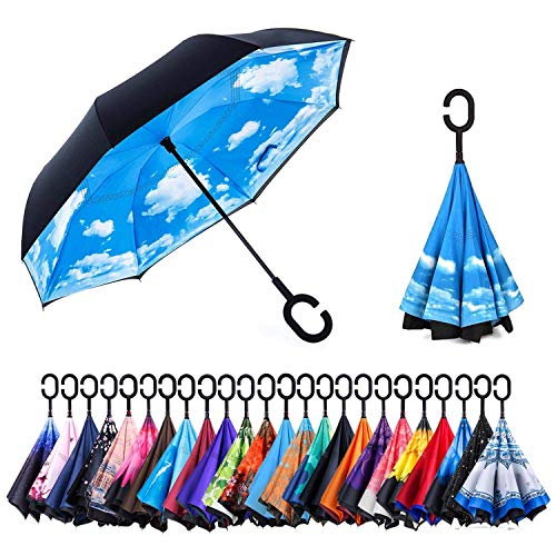 NewSight Reverse/Inverted Double-Layer Waterproof Straight Umbrella, Self-Standing & C-Shape Handle & Carrying Bag for Free Hands, Inside-Out Folding for Car Use (The Sky)