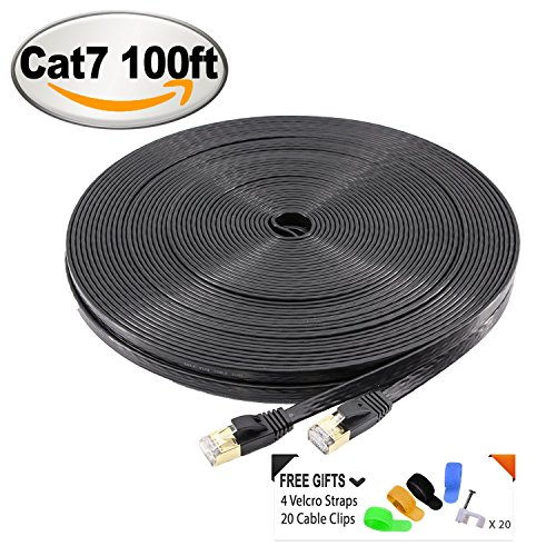 3' Cat6 Shield (CAT7 10 Gigabit Ethernet Ultra Flat Patch Cable for Modem Router LAN Network - Built with Gold Plated & Shielded RJ45 Connectors and 20 Cable Clips + 4 Loop Velcro Straps, 100 Feet Black)