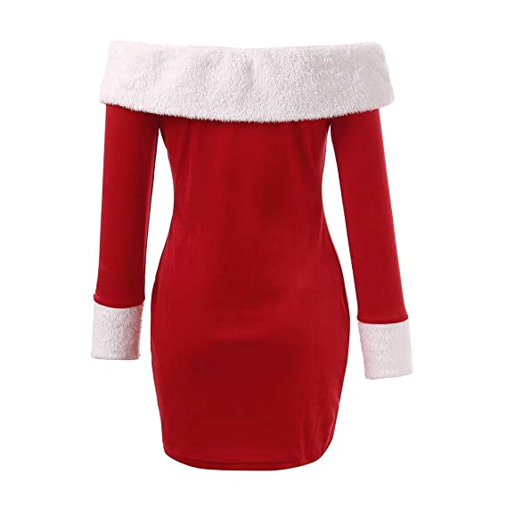 Luckycat Vestido Ajustado de Santa Claus para Mujer de Manga Larga Mini Hombro: Amazon.es: Ropa y accesorios