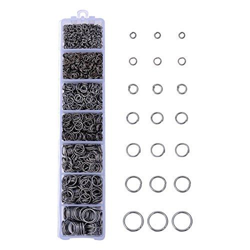HooAMI 1450pcs Gunmetal Black Open Jump Rings 3mm 4mm 5mm 6mm 7mm 8mm 10mm Box Set for DIY Jewelry Making Findings
