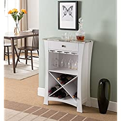 Kings Brand Hiland Bar Cabinet Wine Storage With Glass Holders & Drawer, White