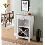 Kings Brand Hiland Bar Cabinet Wine Storage With Glass Holders U0026 Drawer,  White
