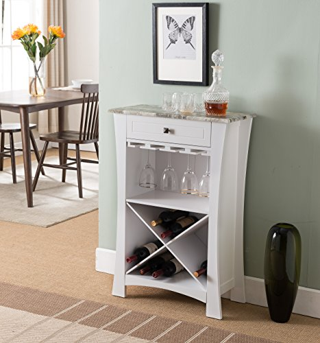 Kings Brand Hiland Bar Cabinet Wine Storage with Glass Holders & Drawer, White, White (Bar White Corner Cabinet)