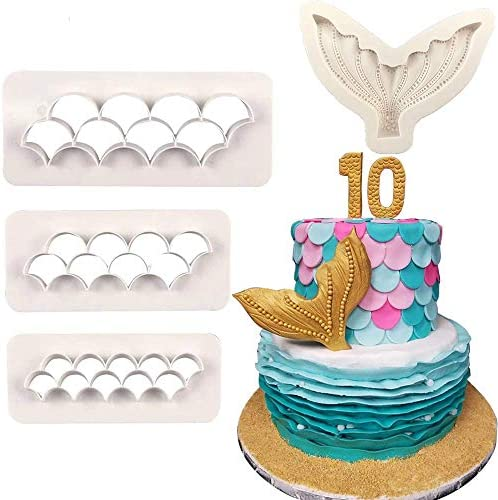 MERMAID TAIL Cutter and Embosser Set by Custom Cookie Cutters Cake Fondant