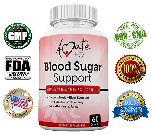 Amate Life Blood Sugar Support Supplement with Biotin, Cassia Cinnamon, Vitamin C & Vitamin E - Sugar, Glucose, Insulin & Cholesterol Control Pills - Dietary Supplement - 60 Capsules