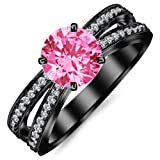 0.9 Carat 14K Black Gold Contemporary Double Row Split Shank Engagement Ring with a 0.5 Carat Natural Pink Sapphire Center (Heirloom Quality)