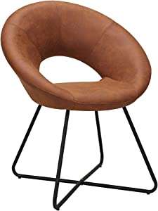 Duhome Modern Tech Fabric Upholstered Accent Chairs Dining Chairs Arm Chair for Living Room Furniture Mid-Century Leisure Lounge Chairs with Black Metal Legs Industrial 1 PCS Brown