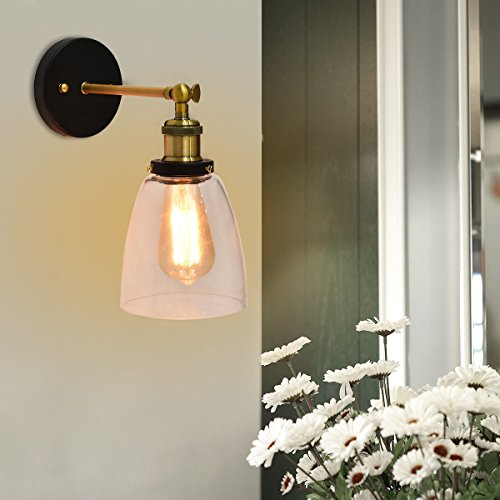 Black Copper Outdoor Wall - Tangkula Wall Sconce In/Outdoor Industrial Vintage Style Bar Loft Glass Shade Wall Light with Bulb (copper)