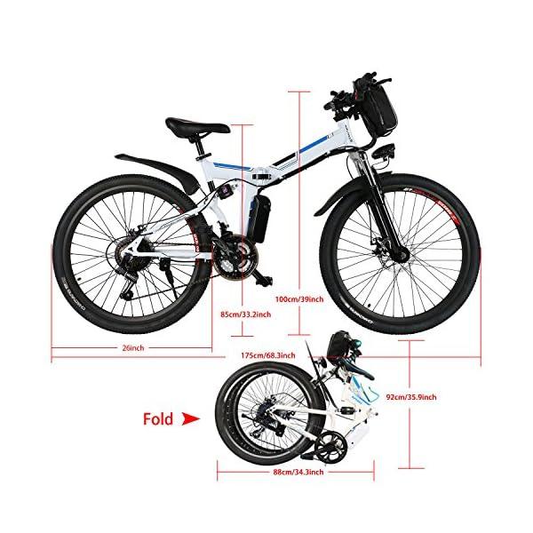 Bunao Bicicletta Elettrica City Bike Pieghevole a Pedalata Assistita, Ruote 20'', velocità 25km/h, Mileage 35-70km, Nero 3 spesavip