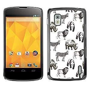 TopCaseStore / la caja del caucho duro de la cubierta de protección de la piel - Animals Africa White Black Panda Lion - LG Google Nexus 4 E960