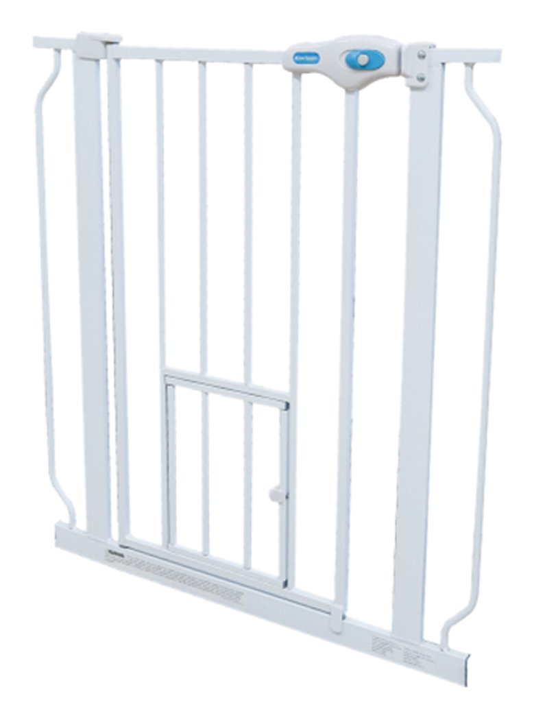Carlson Pet Products 0945PW 0942PW Extra Tall Walk-Thru Pet Gate with Pet Door White, 29-34Wx41H in